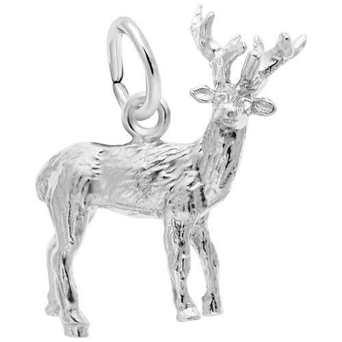 14K White Gold Elk Charm by Rembrandt Charms