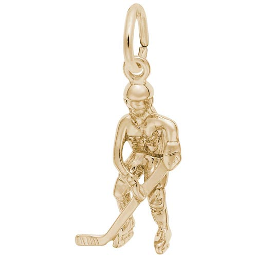 14K Gold Hockey Player Charm by Rembrandt Charms