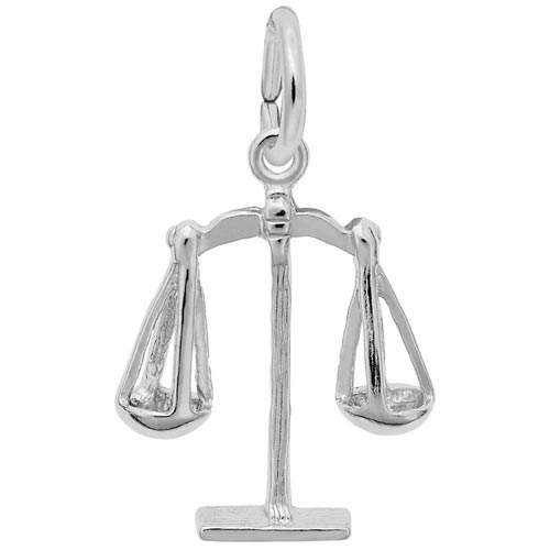 14K White Gold Scales of Justice Charm by Rembrandt Charms