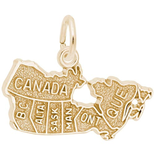 10K Gold Canada Map Charm by Rembrandt Charms