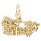 Gold Plate Canada Map Charm by Rembrandt Charms