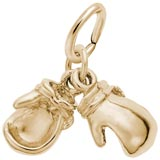 Gold Plate Boxing Gloves Accent Charm by Rembrandt Charms