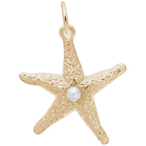 14K Gold Starfish with Pearl Charm by Rembrandt Charms