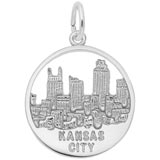 14K White Gold Kansas City Skyline Charm by Rembrandt Charms