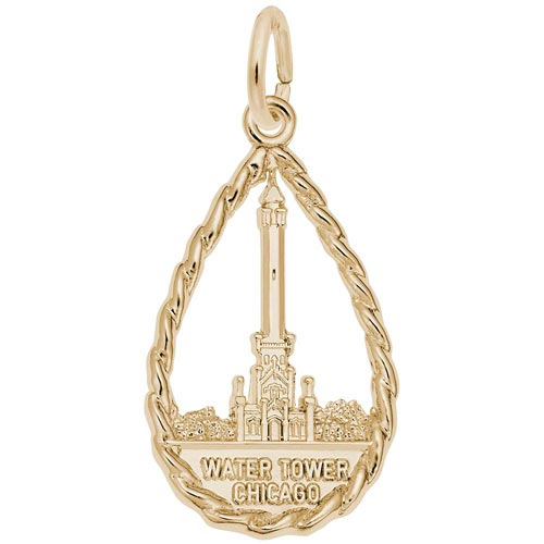 Gold Plated Chicago Water Tower Charm by Rembrandt Charms