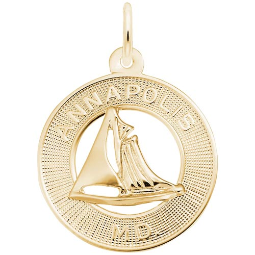 Gold Plate Annapolis Sailboat Ring Charm by Rembrandt Charms