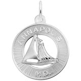 14K White Gold Annapolis Sailboat Ring Charm by Rembrandt Charms