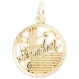 14K Gold Steamboat Faceted Disc Charm by Rembrandt Charms