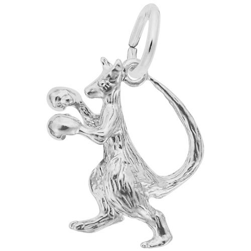 14K White Gold Boxing Kangaroo Charm by Rembrandt Charms