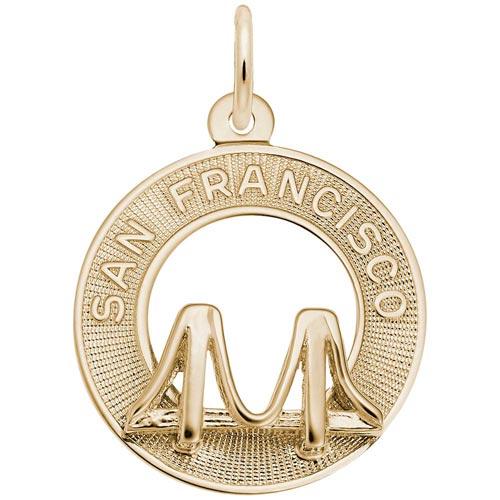 14K Gold San Francisco Bridge Ring Charm by Rembrandt Charms