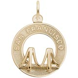 14K Gold San Francisco Bridge Ring Charm by Rembrandt Charms