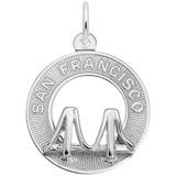 14K White Gold San Francisco Bridge Ring Charm by Rembrandt Charms
