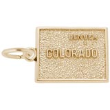 Gold Plated Denver, Colorado Map Charm by Rembrandt Charms
