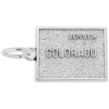 14K White Gold Denver, Colorado Map Charm by Rembrandt Charms