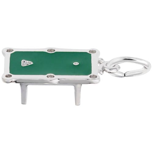 14k White Gold Pool Table Charm by Rembrandt Charms
