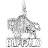 14K White Gold Buffalo Charm by Rembrandt Charms