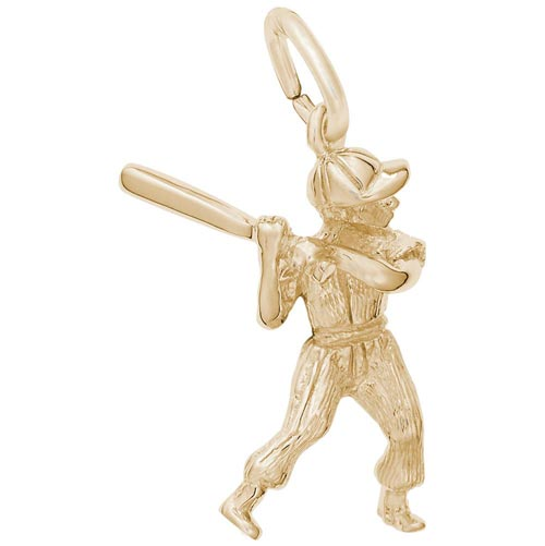 14K Gold Baseball Player Charm by Rembrandt Charms