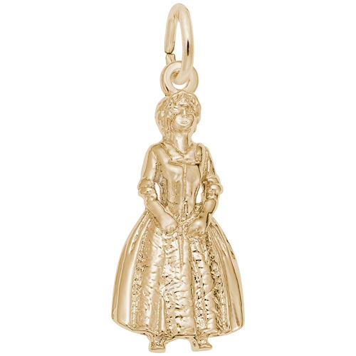 Gold Plate Colonial Woman Charm by Rembrandt Charms