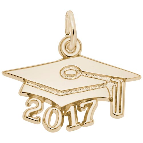 Gold Plated Graduation Cap 2017 Charm by Rembrandt Charms