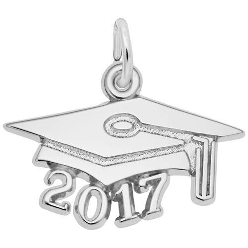 14k White Gold Graduation Cap 2017 by Rembrandt Charms