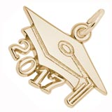 10k Gold Graduation Cap 2017 Charm by Rembrandt Charms