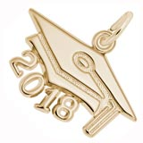 Gold Plate 2018 Graduation Cap Large Charm
