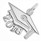 14K White Gold 2018 Graduation Cap Large Charm