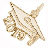 10K Gold 2019 Graduation Cap Large Charm