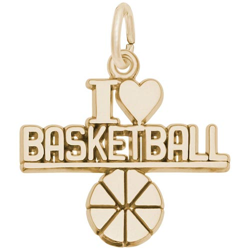 14K Gold I Love Basketball Charm by Rembrandt Charms