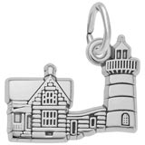 14K White Gold Nubble Cape ME Lighthouse Charm by Rembrandt Charms