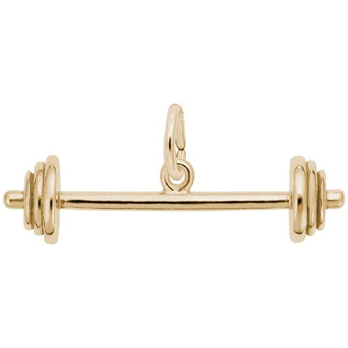 14K Gold Barbell Charm by Rembrandt Charms