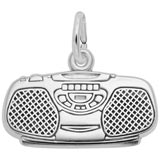 14K White Gold Boom Box Charm by Rembrandt Charms