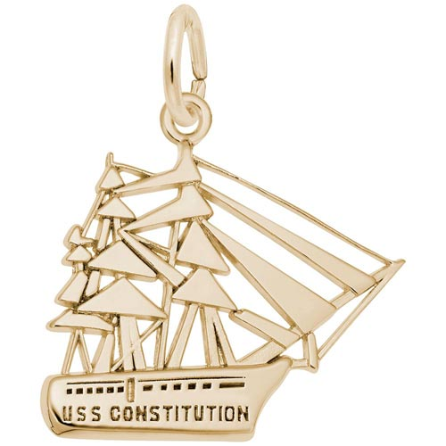 Gold Plate USS Constitution Charm by Rembrandt Charms