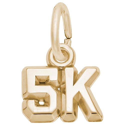 Gold Plate 5K Race Accent Charm by Rembrandt Charms