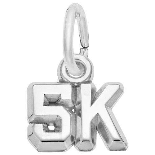 14K White Gold 5K Race Accent Charm by Rembrandt Charms