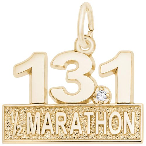 Gold Plated 13.1 Marathon (stone) by Rembrandt Charms