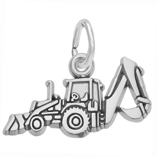 14K White Gold Backhoe Charm by Rembrandt Charms