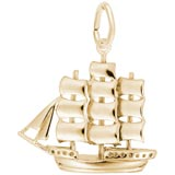 14K Gold Full Rigged Ship Charm by Rembrandt Charms