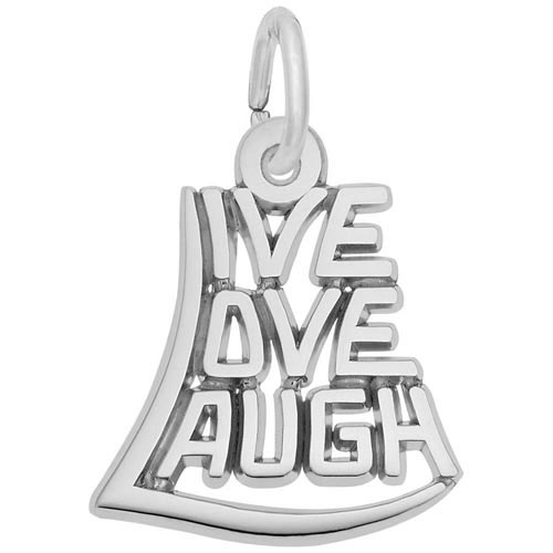 14K White Gold Live Love Laugh Charm by Rembrandt Charms