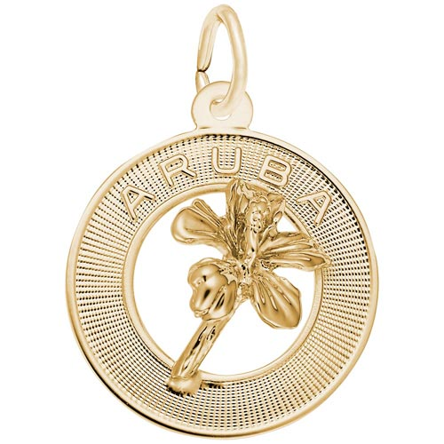 Gold Plated Aruba Hibiscus Ring Charm by Rembrandt Charms