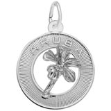 14K White Gold Aruba Hibiscus Ring Charm by Rembrandt Charms