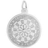 14K White Gold Dart Board Charm by Rembrandt Charms