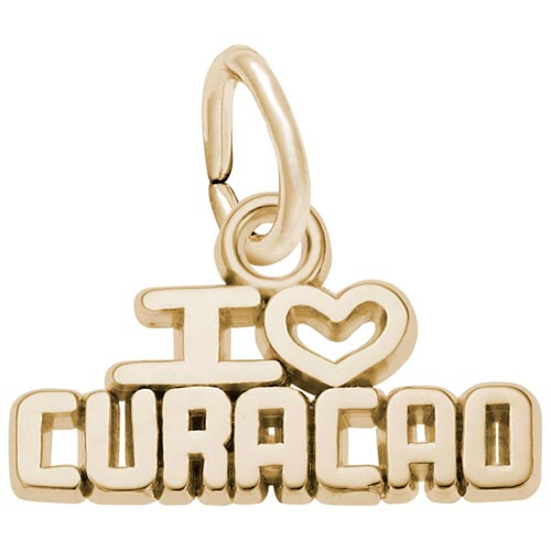 Gold Plate I Love Curacao Charm by Rembrandt Charms