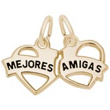 Gold Plated Mejores Amigas Heart Charm by Rembrandt Charms