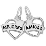 14K White Gold Mejores Amigas Heart Charm by Rembrandt Charms