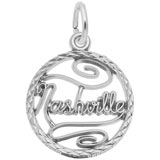 14K White Gold Nashville Faceted Disc Charm by Rembrandt Charms