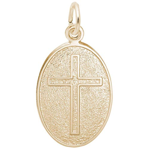 Gold Plated Cross Oval Disc Charm by Rembrandt Charms