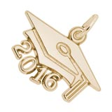 Gold Plated Graduation Cap 2016 Charm by Rembrandt Charms