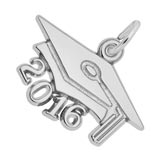14k White Gold Graduation Cap 2016 by Rembrandt Charms