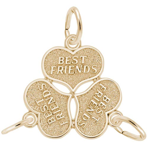 14K Gold Three Best Friends Hearts Charm by Rembrandt Charms